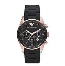 Mens Emporio Armani AR5905 Black & Rose Gold Chronograph Watch
