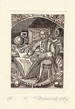 Science, Ex libris Etching by Nikoly Domashenko, Russia