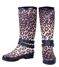 Women Fashion Rubber Rain Boots, Fabric Coated Waterproof Wellies