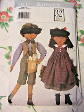 "ETHNIC BOY & GIRL~Butterick 4117 32"" (81cm) RARE OOP 1995 cloth art doll pattern"