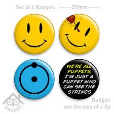 """WATCHMEN Movie Smiley  Dr Manhattan & Rorschach Comic -1"""" Badge x4 Badges NEW"""
