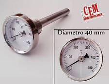 Termometro per forno 500 °C gradi in acciaio inox  barbecue fornello pirometro