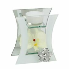 Hestia Concave T Lite Candle Holder With Cream Orchid Flower Gift HE229