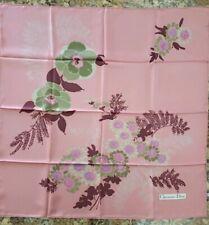 Vintage Christian Dior silk scarf pink flower pattern  w/box