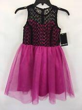 Un Deux Trois Girls Pink And Black Lace Sleeveless Dress Sz 10 $150