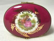 Vintage Limoges-Peint Main-Porcelain Trinket Box-Burgundy & Gold & Loving Couple