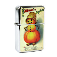 Refillable Windproof Flip Top Lighter Halloween JOL Pumpkin Stack Retro Vintage