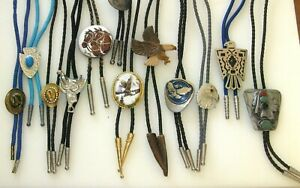 LOT OF 12 VINTAGE COWBOY WESTERN BOLO TIES, Includes Turquoise and Stones