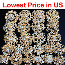 24 pcs lot Mixed Alloy Golden Rhinestone Crystal Brooch DIY Wedding Bouquet DIY