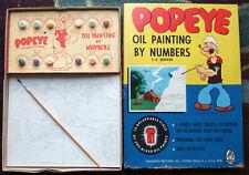 1950's complete Popeye Oil Painting by Numbers + Original Box  set looks unused!