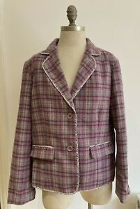 Boden 100% Wool Checked Jacket with Floral Trim, UK Size 20