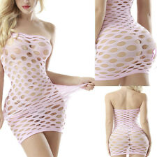 Plus Size Babydoll Mesh Dress Fishnet Body Stocking Bodysuit Nightwear Lingerie