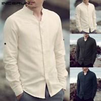 INCERUN Chinese Retro Linen Shirt Mens Long Sleeve Loose Baggy Tops Formal Tops