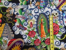 "Contigo Forkloric Skulls Roses on Black 22x44"" Alexander Henry Cotton Fabric"