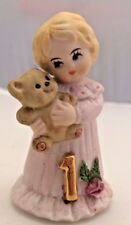 1981 Enesco Growing Up Birthday Girls Figurine Age 1 Blonde Porcelain Statue vtg
