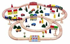Kids Fun Play Educational 100pcs Triple Loop Solid Wooden Building Train Toy Set