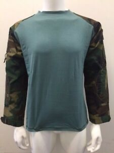 Tactical Military Combat Paintball Shirt Woodland Camo/Teal Small