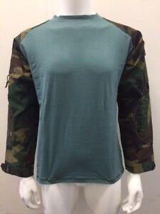 Tactical Military Combat Paintball Shirt Woodland Camo/Teal 2XL