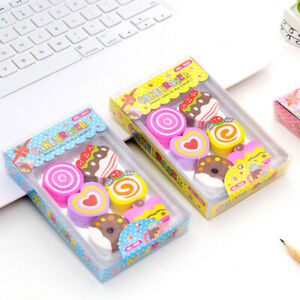 6x Cute Kids Erasers Child Cake Pencil Rubbers Party Bag Novelty School Gift Box