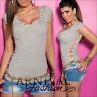 SEXY WOMENS CASUAL T SHIRT v TOPS XS S M SHORT SLEEVE BLOUSE SLIM TOP AU 6 8 10