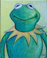 KERMIT THE FROG muppets oil painting 8x10 canvas original signed art by Crowell