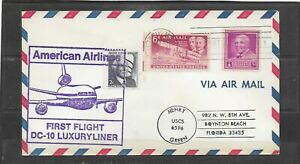 1972 American Airlines DC-10 Luxury Liner First Flight Cachet Cover, Detroit, MI