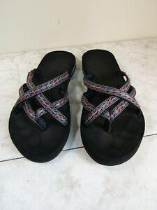 Teva Olowaho #6840 Black/Pink Web Flip Flop Sandal Women's Size 8 EU 39