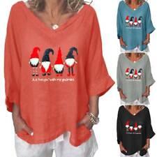 Women Christmas Xmas Santa Claus T-shirt Casual Autumn Loose Blouse Tops Shirt