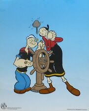 """POPEYE THE SAILOR MAN & OLIVE OIL """"At the Wheel"""" Animation Art Cel Sericel"""