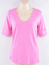 LAUREN RALPH LAUREN Women's V-neck T-shirt Top, Pink, size SMALL