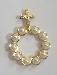 Rosary Ring Single Decade Praying Revolving Pearl Glass Beads Catholic