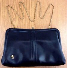 Jane Shilton Vintage Navy Blue Leather Purse or Handbag 10 x 6 inch
