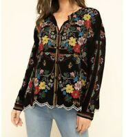 $175 JOHNNY WAS CABO EMBROIDERED BUTTON DOWN BLOUSE - BLACK - SZ S OVERSIZE NWT