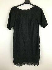 eShakti Custom Size XL 2XL Black Crotchet Dress Floral Back Zip Career Evening