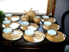 VICTORIA CZECHOSLOVAKIA ORANGE LUSTERWARE TEA AND SNACK SET 19 PIECES