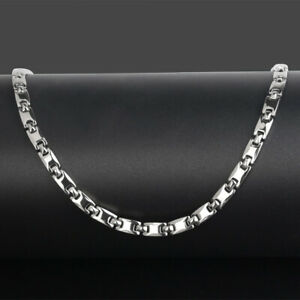 Mens Silver PURE Titanium Magnetic Therapy Chain Energy Necklace Headache Relief