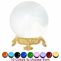 Crystal Ball 50mm Sphere for Feng Shui, Meditation, Decor, with Gold Eagle Stand
