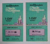 Walt Disney World Magic Kingdom 1-Day Ticket 7/06/1985 Lot of 2