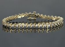 14K Yellow Gold 40 Round 2.20ct Diamond Tennis 7'' Safety Lock S Bracelet