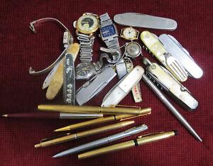 JUNK DRAWER 10 POCKET FOLDING  KNIFES 6 PENS 6 WATCHES