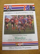 Programa de Unión de Rugby 07/12/2002: Liverpool St Helens V Waterloo. fútbol Progs/Bo