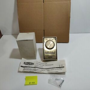 Dayton Line Voltage Thermostat 2E158 Single-Pole Double-Throw Heat Or Cool (D98)