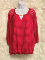 ALYX Red Striped Sheer Lined Stretch Elastic Waist Blouse Top Sz M - EUC