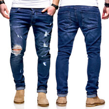 BEHYPE Jeans Herren Röhrenjeans Destroyed Chino Hose Blau/Schwarz/Grau NEU