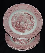 "4 Royal China* CURRIER & IVES PINK* 10"" DINNER PLATES"