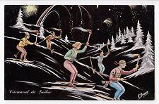 Course de Ski aux Flambeaux Carnaval de QUEBEC QC Canada Carte Signée R. Drouin