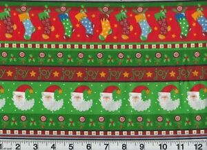 Vintage Christmas Santa Claus Cotton Fabric Holiday OOP New Old Stock