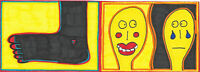 Original Drawing by Jay Snelling. Outsider Art Brut. Foot with Happy / Sad Man