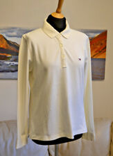 TOMMY HILFIGER Creme Polo Neck collared Top Long Sleeve Women's Sz. Large