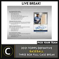 2021 TOPPS DEFINITIVE BASEBALL 3 BOX (FULL CASE) BREAK #A1107 - PICK YOUR TEAM
